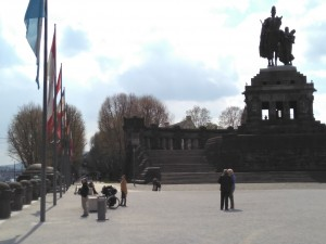 """Kaiser Wilhem 1st statue on the """"Deutsches Ecke"""" in Koblenz"""