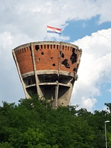 The war damaged water tower just outside Vukovar that now stands as a monument to the Serbian/Croatian conflict in the early 90's.
