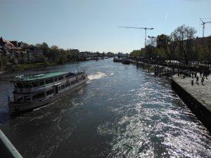 The view downstream from Die Alte Steinbrucke at Regensburg