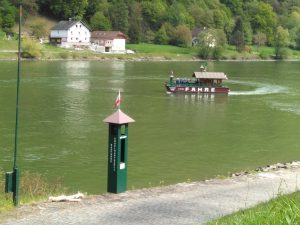 A cycle ferry that caught our fancy, with a swiss style chalet on it. First in Austria on the way to Vienna