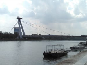 The 'New Bridge' or UFO bridge as it is commonly known as the entry to the old city of Bratislava.