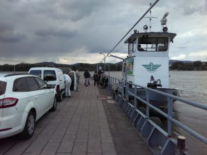 The ferry over to Szob...powered by a tug boat strapped to the ferry platform.