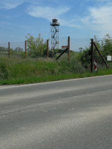 Soviet era watchtower near the border with Croatia.