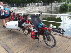 Julien and Blondie's Hase tandem plus trailer