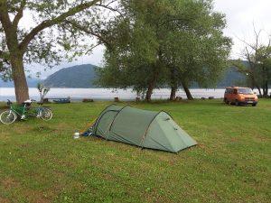 Our riverside campsite near Brnjica.