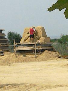 Sand sculpture being made
