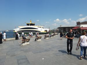 "One of the many ""sea buses"" linking Asian and European Istanbul."