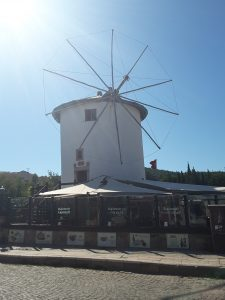 A Cretan style windmil that is now a restaurant