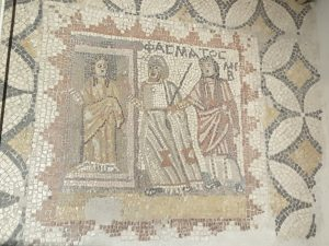 An ancient Greek mosaic from 2nd century BC unearthed at a site near Mytilini.